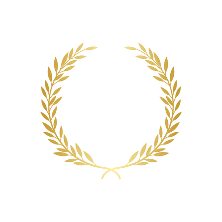 Lorbeer oder olivgrüner dekorativer Kranz das Symbol der Auszeichnung oder der Meisterleistungsvektorillustration lokalisiert auf weißem Hintergrund. Symbol oder Rahmen für Siegerzertifikat. Vektorgrafik