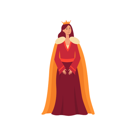 A young medieval queen from a fairy tale stands in a dress, royal mantle and a golden crown, flat vector character illustration on an isolated white background in cartoon style.