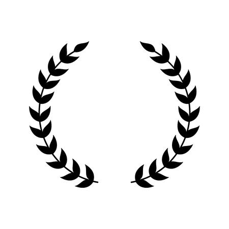 Símbolo de corona para el emblema del premio, silueta de laurel negro con dos ramas de hojas separadas. Marco de la victoria para el certificado de campeón o la decoración del logotipo, ilustración vectorial aislado sobre fondo blanco.