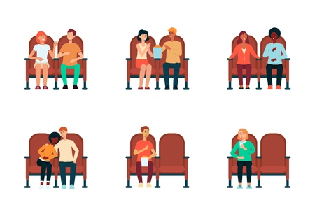 Set of people and couples sitting in cinema cartoon style, vector illustration isolated on white background. Collection of men and women in theater chairs watching movie