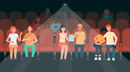 People sitting in cinema hall cartoon style, vector illustration. Couples and men and women audience watching movie in dark spectator hall