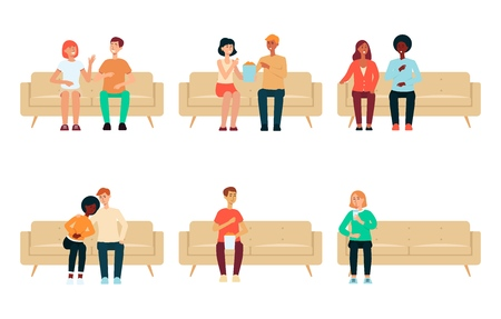 Set of people and couples sitting on couch cartoon style, vector illustration isolated on white background. Collection of men and women on home sofa watching movie or tv