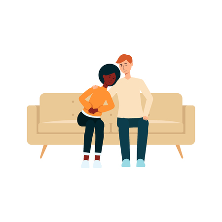 ?ouple sitting on couch and hugging cartoon style, vector illustration isolated on white background. Smiling man and woman on home sofa watching romantic movie or film on tv