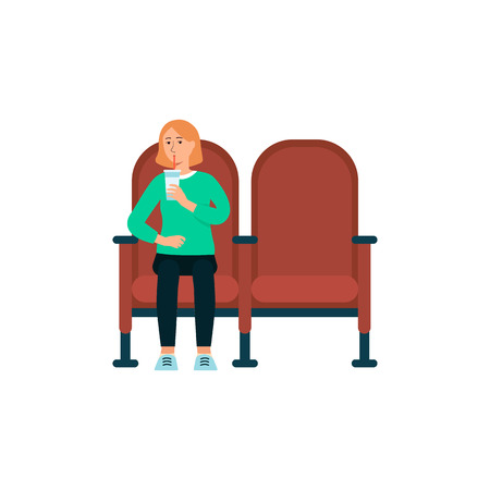 Single woman with beverage in cinema cartoon style, vector illustration isolated on white background. Female sitting alone watching movie in theater chairs and drinking during film show