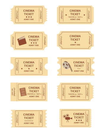 Set of retro cinema tickets cartoon or flat style, vector illustration isolated on white background. Collection of old vintage entrance coupons for movie theater  イラスト・ベクター素材