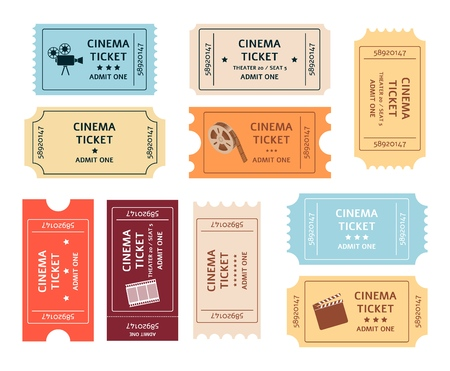 Set of retro cinema tickets cartoon or flat style, vector illustration isolated on white background. Collection of old vintage entrance coupons for movie theater Illustration