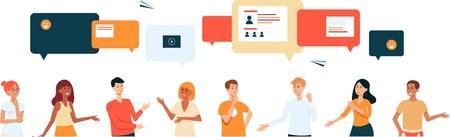 Personajes de dibujos animados chatean a través de burbujas de discurso en la aplicación de teléfono, diálogo de comunicación empresarial internacional, banner de charla de internet grupal para redes sociales, ilustración de vector dibujado a mano sobre fondo blanco