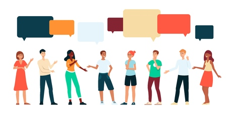 People communicating with speech bubbles above head cartoon style, vector illustration isolated on white background. Group of men and women talking to each other and gesticulating
