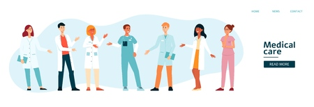 Website template with medical team cartoon style, vector illustration isolated on blue background. Banner for landing page with group of hospital doctors and nurses Illustration