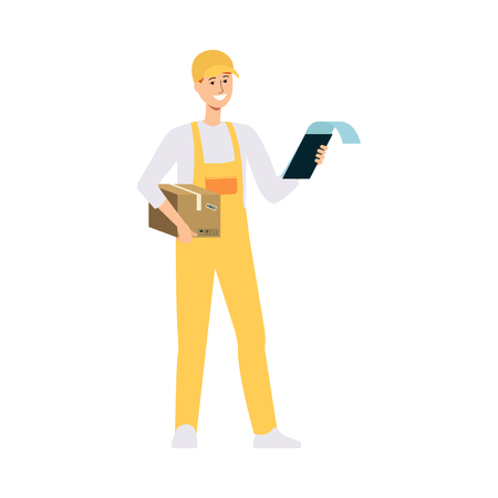 Loader in overalls holding brown box and checking clipboard cartoon style, vector illustration isolated on white background. Delivery man carrying cardboard parcel and checking order information