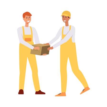 Two loaders in overalls passing a brown box cartoon style, vector illustration isolated on white background. One delivery man giving cardboard package or parcel to another worker Illustration