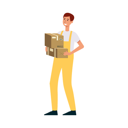 Loader in overalls holding two brown boxes cartoon style, vector illustration isolated on white background. Delivery man carrying cardboard packages or parcels