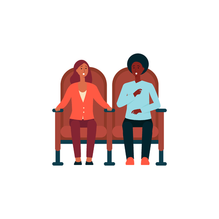 Shocked couple sitting in cinema chairs cartoon style, vector illustration isolated on white background. Man and woman wathing movie and scared by thriller or horror film Foto de archivo - 122416995