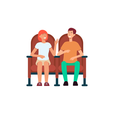 Smiling couple sitting in cinema chairs cartoon style, vector illustration isolated on white background. Laughing man and woman watching comedy movie