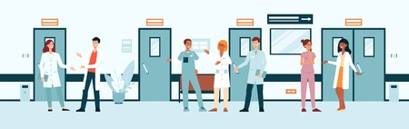 Group of doctors and nurses in hospital corridor cartoon style, vector illustration on flat background. Team of medical professionals talking to each other in clinic hall