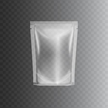 Pacchetto sacchetto di plastica trasparente sigillato, mockup 3d realistico di contenitore trasparente vuoto in polietilene lucido per alimenti. Modello di illustrazione vettoriale isolato per il marchio del prodotto di dimensioni al dettaglio.