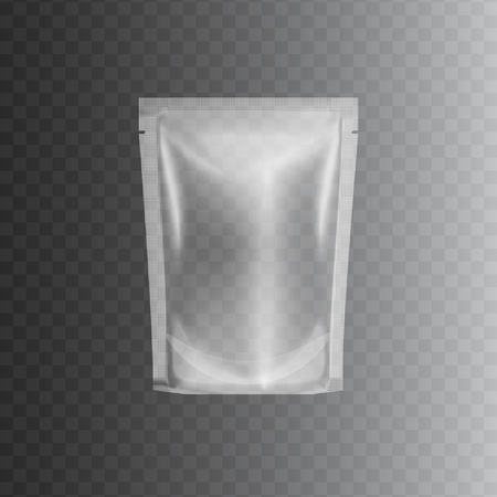Transparent sealed plastic bag package, realistic 3d mockup of clear blank glossy polyethylene pouch container for food. Isolated vector illustration template for retail size product branding.