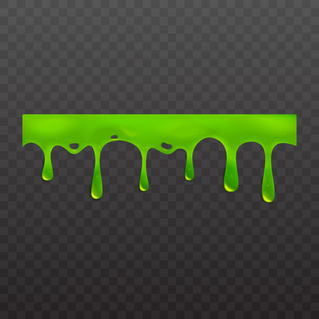 Green slime or goo spooky dripping liquid vector illustration isolated on transparent background. Border for halloween scary slime banner with stains and blobs, slimy ooze. Ilustrace