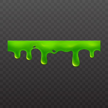 Green slime or goo spooky ooze dripping liquid vector illustration isolated on transparent background. Border for halloween scary slime banner or sticky toxic drops. Illustration
