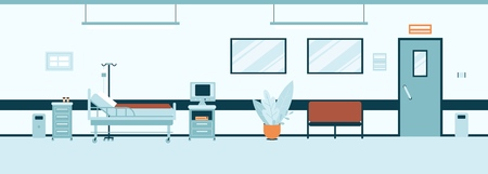 Empty hospital hall or corridor interior flat style, vector illustration. Clinic room or ward inside with with furniture and equipment, modern medical office