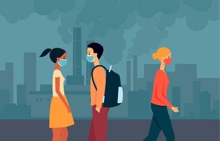 People of mixed races, men and women walk in masks around the city with polluted air, environmental problems, vector illustration.