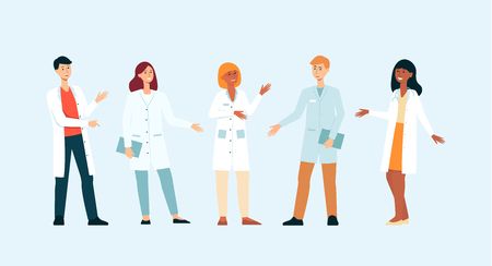 Set of gesticulating medical doctors cartoon style, vector illustration isolated on blue background. Group of men and women from hospital team standing in different poses