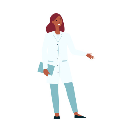 Medical female doctor standing and gesticulating cartoon style, vector illustration isolated on white background. Healthcare professional woman presenting something or inviting to hospital