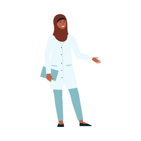 Woman doctor with hijab in medical uniform. Female cartoon character with Muslim head scarf and hospital scrubs smiling, isolated flat hand drawn vector illustration on white background Banque d'images - 122417029