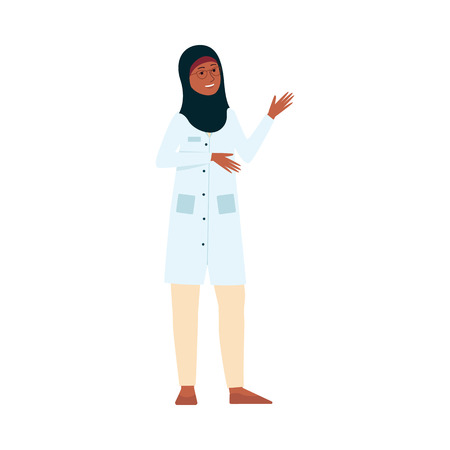Female doctor or nurse with medical uniform and Muslim hijab smiling and waving. Friendly woman cartoon character as hospital health care worker, isolated flat vector illustration on white background Ilustração