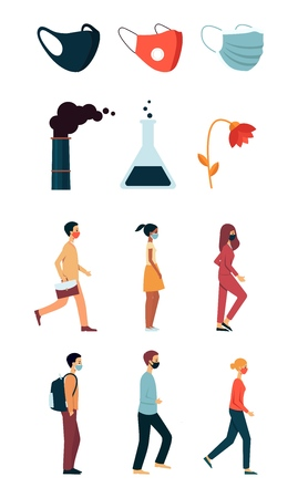 A set of elements of polluted urban air, people of mixed races in masks, smoking factory pipe, a fading flower and a chemical flask. Isolated pollution city vector flat illustration.