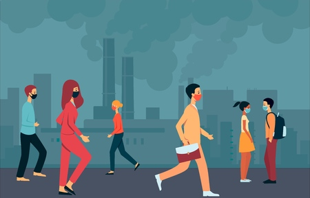 People in masks walk through the smoky city with air pollution and the environment. Environmental problems of urban air pollution, people, men and women in protective masks. Vector illustration. Ilustrace