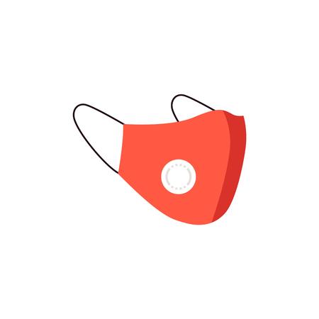 Maschera protettiva antipolvere medica rossa n95 con protezione del viso da aria e polvere inquinate. Maschera respiratoria con valvola per la protezione della salute, illustrazione vettoriale. Vettoriali
