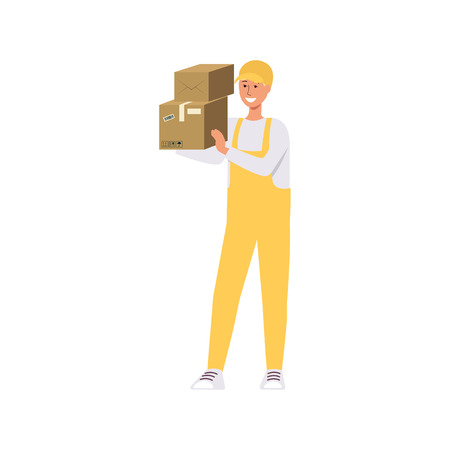 Loader in overalls holding two brown boxes on shoulder cartoon style, vector illustration isolated on white background. Delivery man carrying cardboard packages or parcels