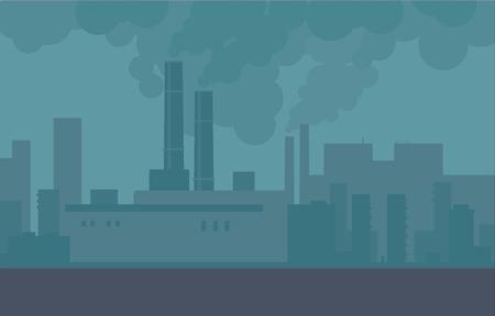 Luchtvervuiling in de stadsleidingen van fabrieken en fabrieken. Bouwrook, vervuilde stadslucht, giftige omgeving. Vector stad illustratie. Vector Illustratie