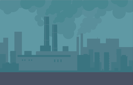 Air pollution in the city pipes of plants and factories. Building smoke, polluted urban air, toxic environment. Vector city illustration.