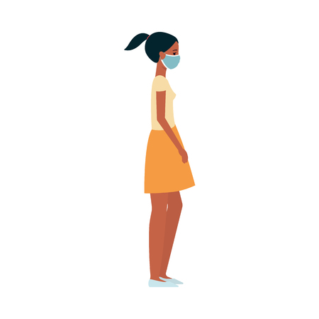 Dark skinned young woman or girl in a skirt and tshirt in a medical protective mask on her face. Girl protects health with a medical mask on her face, isolated vector illustration.