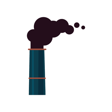 An isolated icon or symbol of a factory smoking pipe or chimney. Industrial pollution of the environment and air by the plant and factory. Isolated vector illustration. Çizim