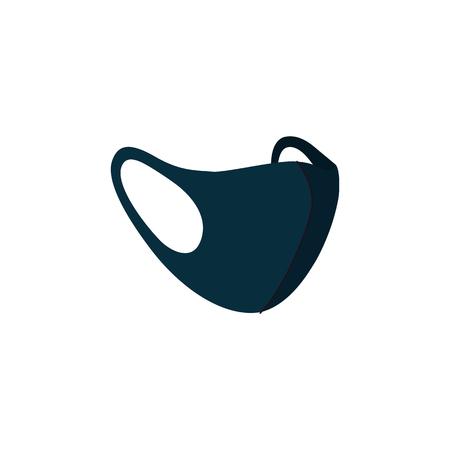 Máscaras faciales negras de la contaminación del aire, máscaras médicas n95 para proteger la salud contra el smog y el polvo. Ilustración de vector aislado.