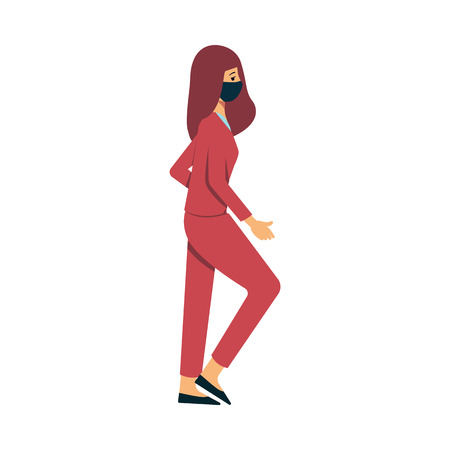 A brown haired caucasian woman in a suit goes in a protective mask against dust and environmental pollution. Woman in a mask to protect against air pollution and fine dust, vector flat illustration. Иллюстрация