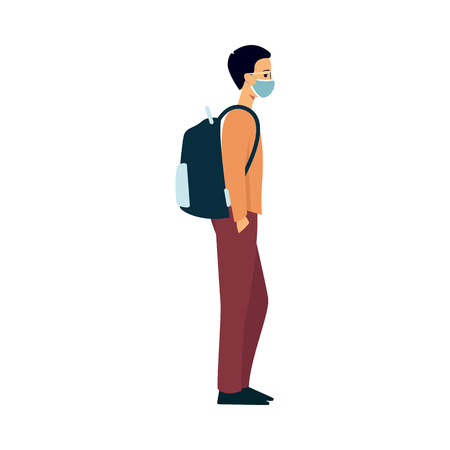 A young caucasian man in a sweater, pants and a backpack stands in a medical mask on his face. A medical mask protects the health of men from flu, illness and dust. Isolated vector illustration.