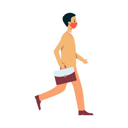 Een jonge brunet man of man in een pak gaat in een beschermend masker tegen stof en milieuvervuiling. Man met een masker om te beschermen tegen luchtvervuiling en fijn stof, platte vectorillustratie.