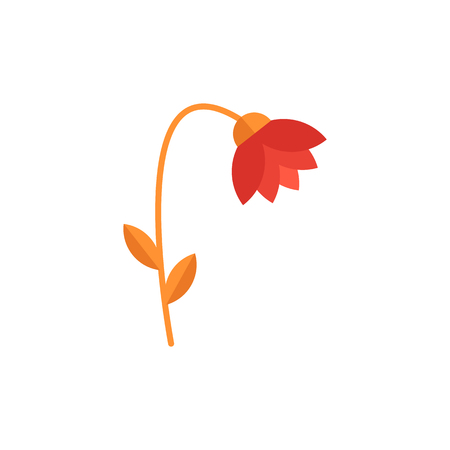 Beautiful red flower with leaves, plants wilt and die to air pollution, soil and the environment, eco problems. Isolated nature flower vector illustration on white background.