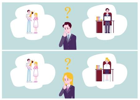 Eine Reihe von Bannern stellte Mann und Frau dar, die zwischen Familienpflichten und flacher Vektorillustration der Karriere wählen. Entscheidung der berufstätigen Eltern und Suche nach dem Gleichgewichtskonzept. Vektorgrafik