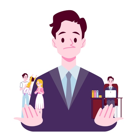 Businessman choosing between family responsibilities and career or professional success flat cartoon vector illustration isolated on white background. Life balance concept.  イラスト・ベクター素材