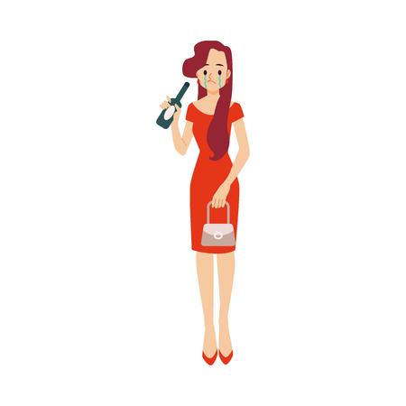Samotna nieszczęśliwa pijana kobieta z butelką w depresji lub rozpadzie związku. Przygnębiona dziewczyna samotność koncepcja wektor ilustracja na białym tle.