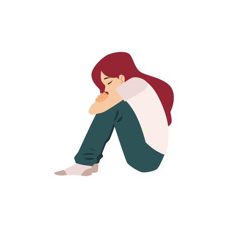 Eine einsame Frau sitzt auf dem Boden und leidet an Depressionen oder Beziehungszusammenbrüchen. Deprimierte Mädchenkonzept-Vektorillustration lokalisiert auf weißem Hintergrund. Vektorgrafik