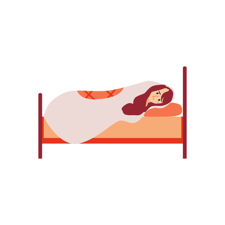 Unhappy woman lying in bed suffers from depression or relationship breakdown. Depressed girl loneliness concept vector illustration isolated on white. Illustration