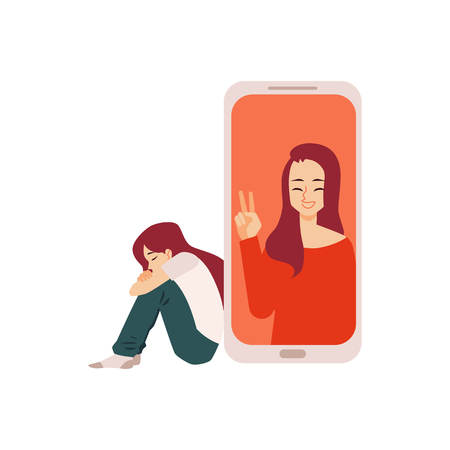 Lonely depressed girl or woman alone with image of another woman on telephone screen demonstrating social support flat vector illustration isolated on white background. Ilustração