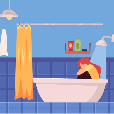 Unhappy depressed woman or girl sitting fully clothed in bathtub under running water flat vector illustration isolated on white background. Lonliness and sadness concept.