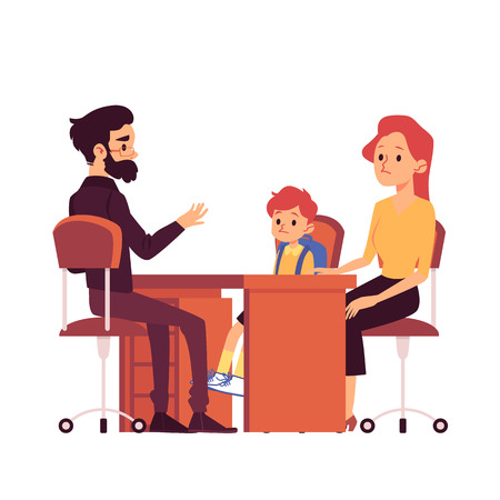 Mom with daughter on consultation with the school teacher or psychologist flat vector illustration isolated on white background. Daily parental duties concept. Stock Illustratie